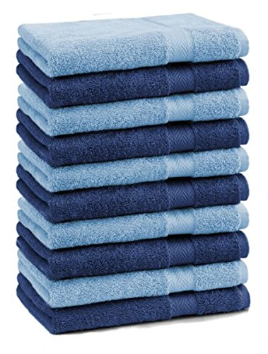 Betz lot de 10 serviettes débarbouillettes taille 30x30 cm 100% coton Premium couleur bleu foncé et bleu clair