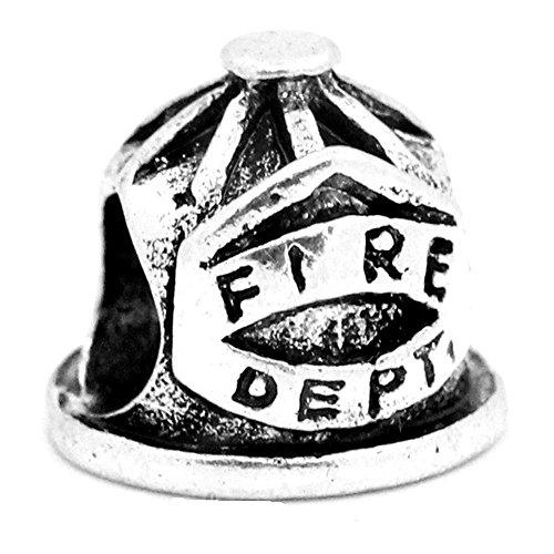 Buckets of Beads Charm-Perle, Feuerwehrmann-Helm, passend für die meisten Charm-Armbänder, für Frauen und Mädchen (Davinci-perlen-armband)
