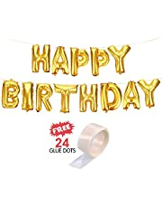 "Party Hour Happy Birthday Banners Foil Balloons Gold with ""Free"" 24 Glue Dots for Easy décor on The Wall for Party Decorations ( Birthday Balloons For Decorations Items Materials For Girls Boys Happy Birthday Banner Foil Balloon Party Props Metallic Ballons Banners )"