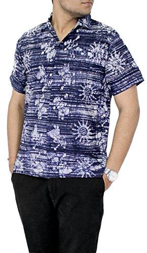 La-Leela-Shirt-Camisa-Hawaiana-Hombre-XS-5XL-Manga-Corta-Delante-de-Bolsillo-Impresin-Hawaiana-Casual-Regular-Fit-Camisa-de-Hawaii-Mostaza