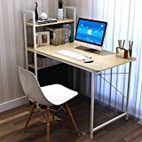 Soges 120x60cm Escritorio de Ordenador Mesa para Casa, Oficina Escritorio de Estudio Escritura con Estantería, de Color de la Teca
