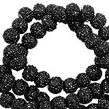 Sadingo Acrylperlen, Kunststoffperlen Glitzernd - Sparkling Beads - Funkelnde Perlen - 8 mm - 10 Stück - Farbe wählbar, Farbe:Schwarz