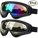WYCTIN Cycle Goggles,2 Pack Snowboard Ski Goggles,Skate Motorcycle Bicycle Riding Goggles for Kids,Boys,Girls,Youth,Men,Women with UV 400 Protection,Windproof,Anti-Glare Lenses (Mulitcolor/Tawny)