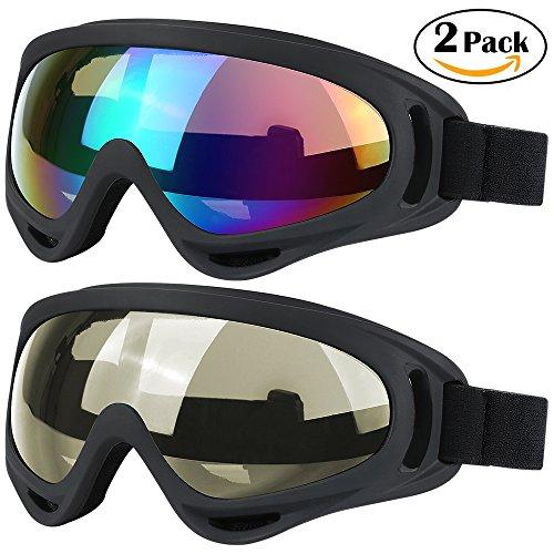 2 Stück Riemen (Skibrille Snowboardbrille, 2Stück, Skate Motorrad Fahrrad fahren für Kinder, Jungen, Mädchen, Jugend, Männer, Frauen mit UV 400Schutz, winddicht, blendfreie Objektive, Mulitcolor/Tawny)