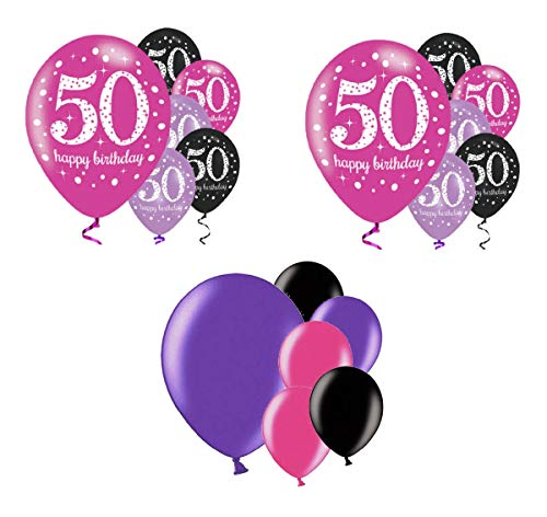 tagsdeko 50. Geburtstag I 18 Teile Luftballon Deko-Set Pink Schwarz Lila metallic Party Happy Birthday Jubiläum 50 ()