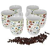 Van Well 6er Set Kaffeebecher Serie Vario Porzellan - Farbe wählbar, Farbe:Flowers