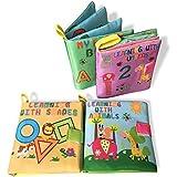 Paño suave y húmedo cognición libros, mi primera suave tela libros de actividades (4piezas) aprendizaje educación temprana juguetes