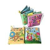 Libros cognitivos de tela suave, mi primer libro de actividades, juguetes de aprendizaje temprano, 4 unidades