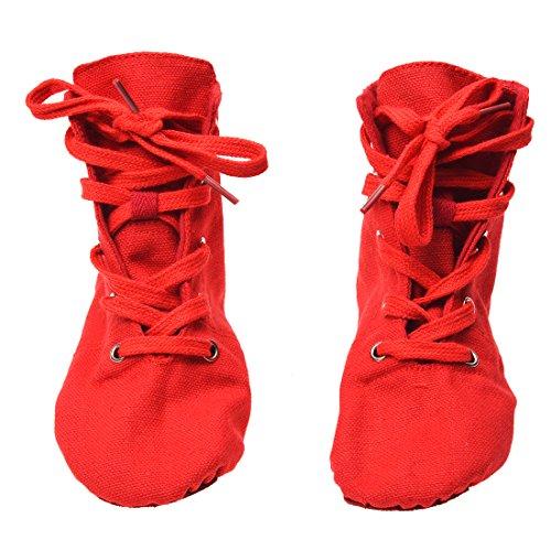 TOOGOO(R) Chaussures avec un talons en toile en semelle douce pour le Jazz et la danse de ballet moderne Chaussures de ballet pour les hommes et les femmes - Rouge DS002-4