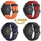 Yayuu Garmin Fenix 3 / Fenix 5X Bracciale, Morbido Cinturino di Ricambio in Silicone per Garmin Fenix 3 / Fenix 5X / Fenix 3 HR GPS Smart Watch (Non per Fenix 5) (B1, 4Pack)