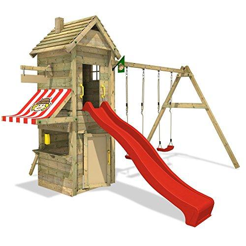 WICKEY Mindy's Mega Store Spielturm Kletterturm mit Spielhaus und Rutsche + Zubehör-Komplettset
