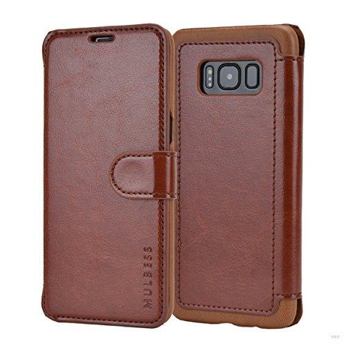 Mulbess Layered Dandy Ledertasche im Bookstyle und Kartenfach für Samsung Galaxy S8 hülle Tasche Leder,Vintage Braun