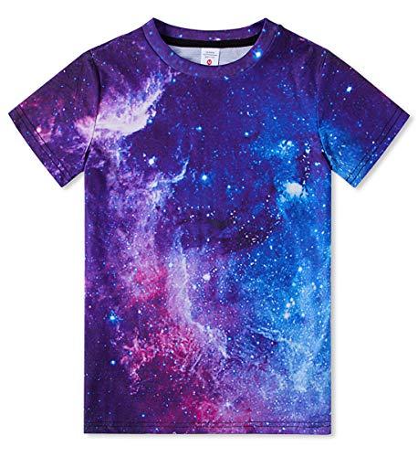 Idgreatim Kinder Galaxy Graphic Tees Jugendliche Jungen Mädchen 3D Druck Neuheit Kurzarm T-Shirt