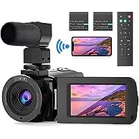 WiFi Videocámara UHD 26MP FamBrow Videocamara de Vlogging Youtube IR Visión Nocturna 30FPS 16X Zoom Cámara de Video Pantalla Giratoria,con Micrófono Control Remoto 2 Batería