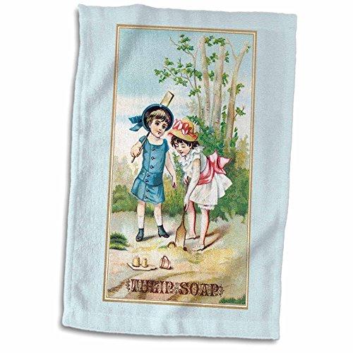 3dRose Vintage Tulip Seife Trading Karte mit Zwei Mädchen in Viktorianischen Ära Kleider Handtuch, weiß, 15x 22