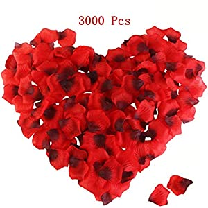 Killow Pétalos de Rosa 3000 Pcs Petalos Artificiales Confeti de Rosas Artificiales de Seda Roja para Bodas,día de San…