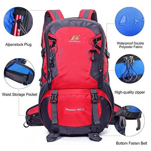 AOKE Wandern Rucksack Wasserdichte Rucksacktasche Outdoor Sport Daypack für Klettern Bergsteigen Camping Angeln Reisen Radfahren 40L Rot