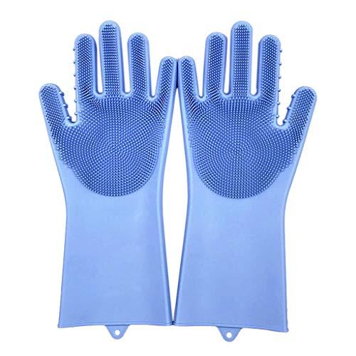 TianranRT❄Küchenhandschuhe,New Magic Mehrweg-Silikonhandschuhe Reinigungsbürste Handschuhe Waschen Die Hitzebeständigen Waschplatten (Blau) -