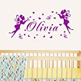 Modeganqingg Nom personnalisé Elf Papillon Fille Vinyle Sticker Mural Art Applique...