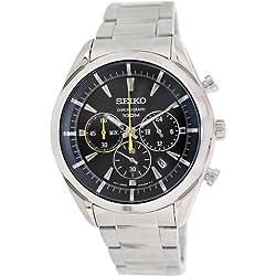 Seiko SSB087P1's Watch Quartz Chronograph Black Dial Steel Strap Grey