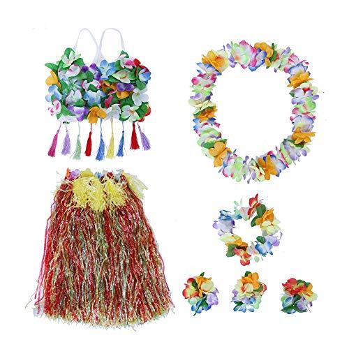 Kostüm Frauen Tänzerin - AUNMAS 8 Teile/Satz Erwachsene Tragen Hawaiian Gras Rock Dance Kleidung Set für Beach Party Sommer Frauen Kostüme Set Party Favors(2#)