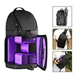 Followsun Pro Camera Sling Bag Backpack Waterproof Shockproof Travel Bag with Rain Cover for Nikon Canon Sony DSLR SLR and Lens, Flash, Tripod, Other Accessories -40cm x 21cm x 14cm (Purple Interior)