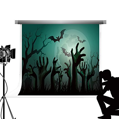 Hintergrund Green Moon Night Hintergrund Zombie Hände Photo Booth für Halloween Kinder Fotografie 10x6.5ft / 3x2m ()