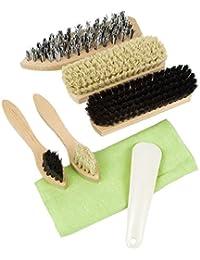 Lantelme 4091 Viaje Juego de cepillos para limpiar Zapatos 8 piezas. Kit de viaje, zapatos, zapatos