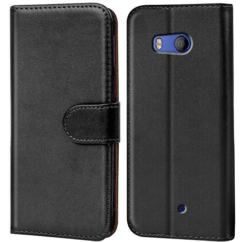 Verco HTC U11 Life Hülle, Handyhülle für HTC U11 Life Tasche PU Leder Flip Case Brieftasche - Schwarz