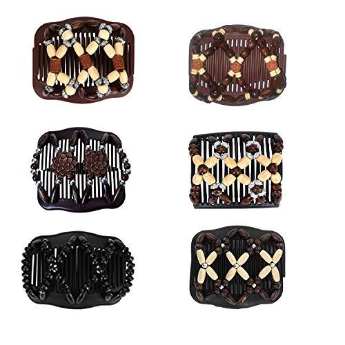 Afrikanische Haarspange Haarkamm,Magic Hair Comb,Haarkamm Elastisch Perlen,Haarspange Stretch,Magic Beads,Doppel Haarklammer,Magische Haarspange,Perlen Haarkämme (6pcs)