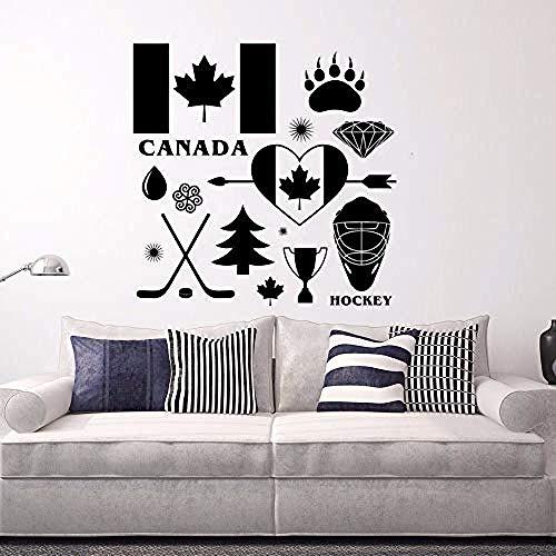 Nationalen Kanadischen Flagge Wandtattoo Hockey Symbol Vinyl Wandbild Abnehmbare Kanadischen Wand Poster Wohnkultur DIY Muster 57x57 cm -