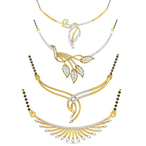 YouBella Women's Pride Collection Combo of Four Designer American Diamond Mangalsutra Pendant with Chain for Women