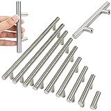 10 x T Bar puerta de la cocina gabinete maneja acero rugoso, de 10 mm de di?¢metro (128 centros de los agujeros / 200 mm de largo)