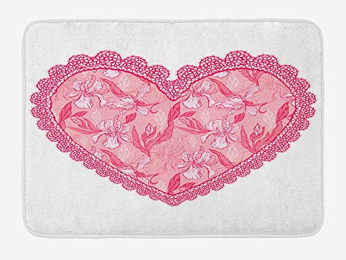 OQUYCZ Love Bath Mat, Lace Heart with Floral Pattern Wedding Valentine Blossoms Leaves Classic Retro, Plush Bathroom Decor Mat with Non Slip Backing, 23.6 W X 15.7 W Inches, Pink Rose White Scottish Lace