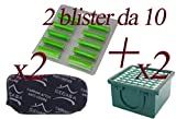Profumini al Pino + Filtro Carboni Attivi + Filtro Microfiltrante Igienico Hepa per Vorwer Folletto vk130 - vk131 (20 Profumini + 2 Filtro Carboni + 2 Filtro Hepa)
