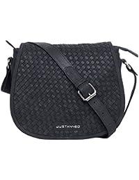 Justanned women Leather Woven black crossbody Bag