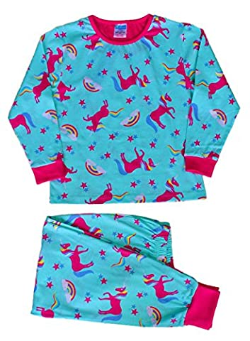 Cute Girl's Long Pyjamas All Over Unicorn Rainbow Long Pjs 5 to 11 Years (10-11 Years)