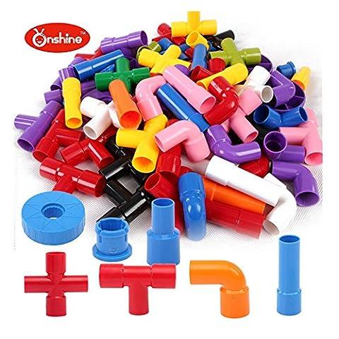 Onshine 72 Pièces Jeu de Construction Intelligence Jeu Educatif Créatif Bloc en Plastique Puzzle Tube pour Bébé Fille Garçon Enfants