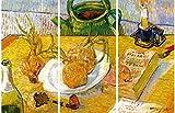 1art1 58305 Vincent Van Gogh - Stillleben Mit Zeichenbrett, Pfeife, Zwiebeln Und Siegellack, 1889, 3-Teilig Poster Leinwandbild Auf Keilrahmen 120 x 80 cm