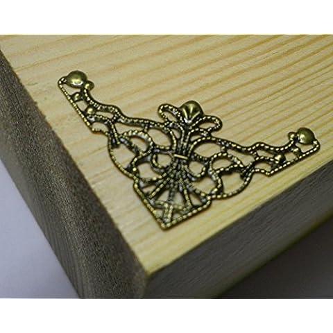 8x Antico Filigrana angolo 35x 35mm gioielli scatola di legno decorazione età c037 - Fancy Gioiello