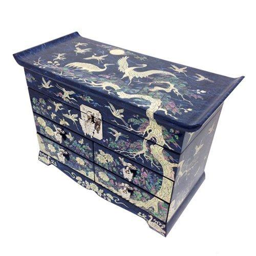 Nacre Grue sapin bleu en Papier de mûrier-Coffret bijoux avec miroir en bois avec rangement coffre à tiroir boite de rangement laqué poitrine (longueur)