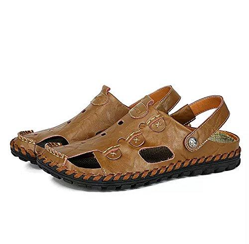 Uomo scarpe sandali sportivi estivi outdoor beach casual pelle viaggio traspirante antiscivolo trekking escursionismo,marrone,42/42.5 eu,44 cn label size