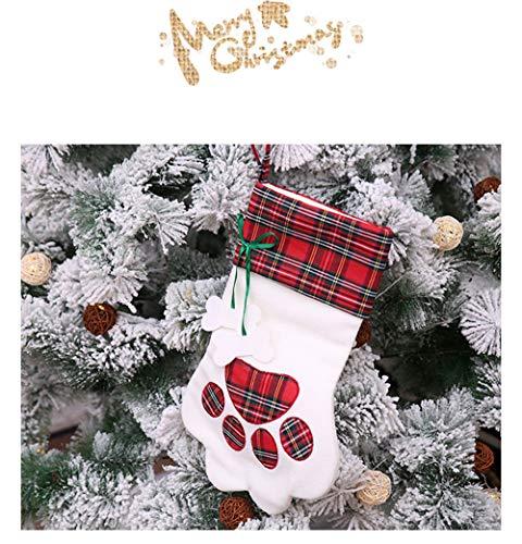Bainuojia Deco Filz-Nikolausstiefel zum Befüllen und Aufhängen - Nikolaus-Strumpf - rot/weiß/grün mit weihnachtlicher Stickerei (red)