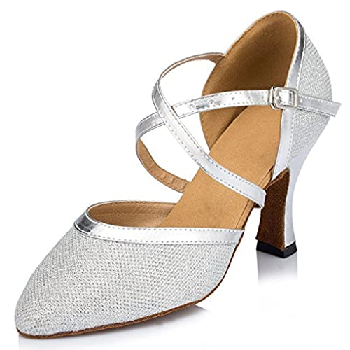 Honeystore Women's Criss Cross Strap Metal Buckle Dance Shoes Silver-03 6 UK