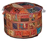 Rajasthali Indian Pouf Hocker Jahrgang Patchwork verschönert mit Patchwork-Wohnzimmer osmanischen Cover, 58 x 33 cm