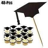 Funpa Cake Topper, 48 Piezas Graduación Topper de Tarta Cupcake Toppers Consejos Torta topper Graduación Accesorio Graduación Copa Palillo Graduación Fiesta Suministros de Fiesta Favor