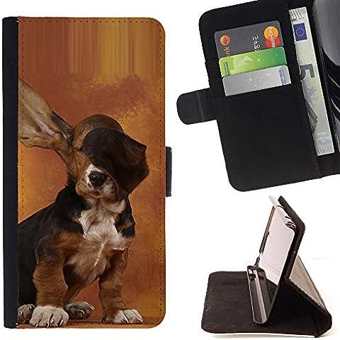 Pelle Portafoglio Custodia protettiva Cassa Leather Wallet Case for LG CLASS / LG H740 /LG ZERO H650 / CECELL Phone case / / Dog Long Ears Basset Hound Brown Puppy /