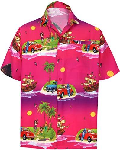 LA Leela Santa Claus Party Casual-Taste unten Aloha Hawaii-Hemd Weihnachtsbaum Hemd Christmas Tree Rosa_W604 L - Brustumfang (in cms) : 111-121