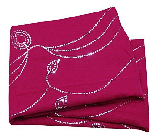 PEEGLI Frau Vintage Magenta Saree Traditionell Tragen Indisch Sarong Kleid Bestickt Georgette Mischung DIY Gebraucht Stoff Bollywood Designer Sari Designer Bollywood Saris