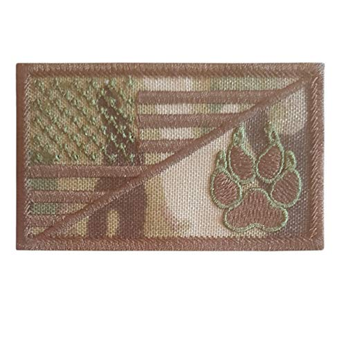 2AFTER1 Multicam USA American Flag K-9 Dog Handler Morale Tactical Embroidery Hook-and-Loop Patch (American 9x5 Flag)